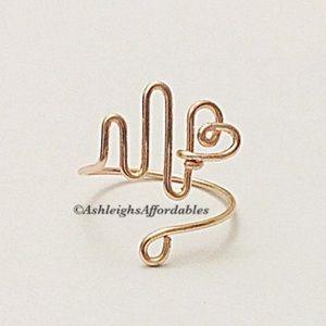 Handmade Custom Wire EKG Heartbeat Ring
